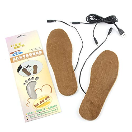 Heaviesk USB Beheizter Fußwärmer 1 Paar Schnittbare Winterstiefel-Einlegesohlen Weiche Schuhe Pads Kissen Bequeme Schuhe Zubehör Hellbraun Hellbraun Für Herren