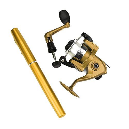 DOGZI Angelrolle Spinnrollen, Angeln Rollen Spinning-Rollen Mini Portable Tasche Fisch Stiftform Aluminium Legierung Angelrute Pole Reel