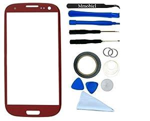 Samsung Galaxy S3 i9300 i9305 Display Touchscreen Frontglas mit Werkzeug-Set zum Wechsel des Frontglases Inkl Pre Cut Sticker/ Pinzette / Rolle 2mm Klebeband / Saugnapf / Draht / Mikrofasertuch MMOBIEL