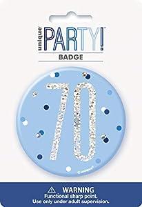 Unique Party 83524 - Insignia de cumpleaños, color azul y plateado