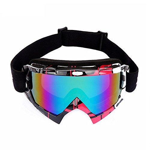 Snowboard-schutzbrillen Polarisiert Bolle (Winter Snowboard Skifahren Anti-Fog UV-Schutz Schwimmbrille mit Double Lens für Männer Frauen, Herren, schwarz / rot)