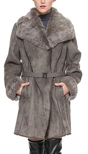 Adelaqueen Frauen Faux Wildleder Revers Mantel mit echten Kaninchen Pelzkragen & Manschetten Größe XL Frau Erbse Mantel