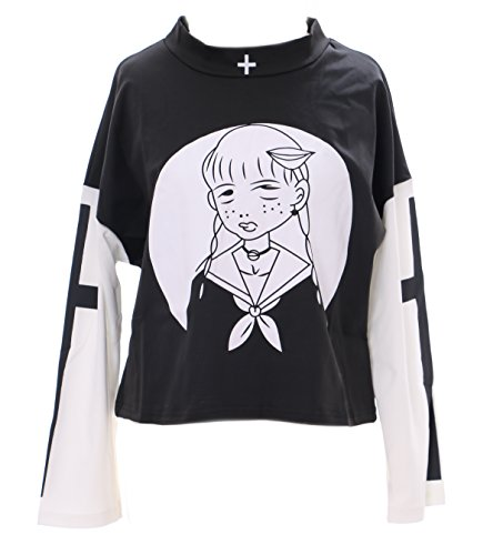TP-122 Visuel Kei schwarz Langarm Shirt Bad Girl Goth Punk Lolita Japan Harajuku (Fashion Goth)