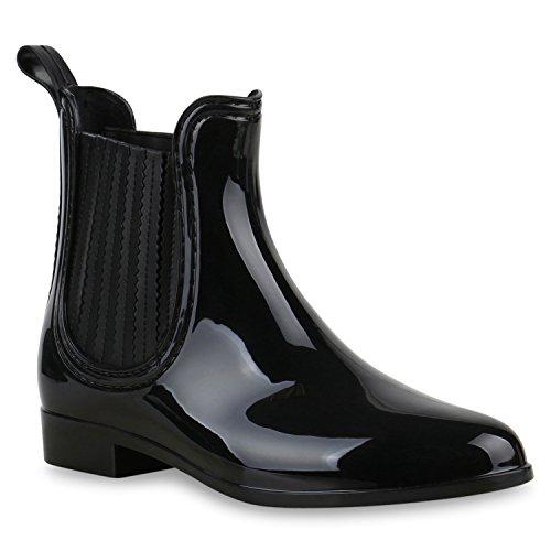 Damen Stiefeletten Gummistiefel Boots Regenschuhe Lack Schwarz