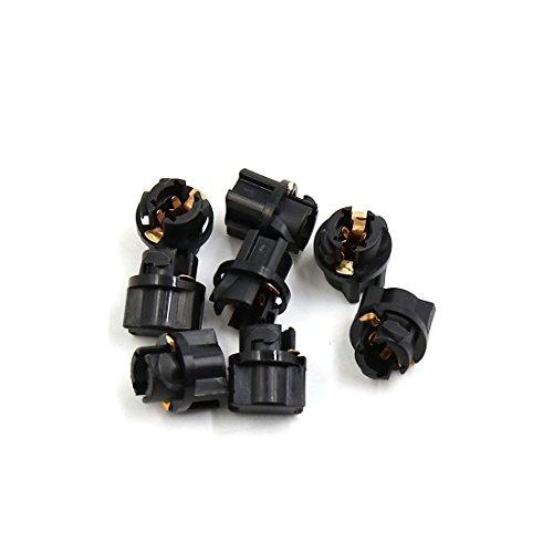 sourcingmap® 8pcs Base ronde noir auto voiture T5 Jauge Tableau bord porte-ampoule