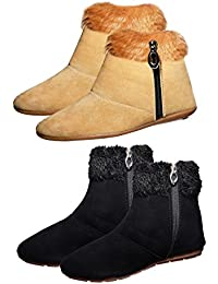 Ziaula Comfortable Woman Long Shoes Black And Beige Color Boot Combo Pack