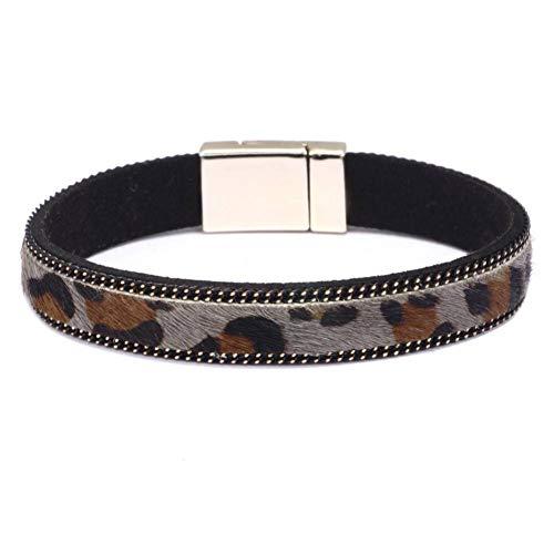 GAOKANG Mode Pferdehaar Druck Leder Manschette Armband Armband weibliche Magnetverschlüsse Wickelarmbänder für Frauen,Grau,19,5 cm