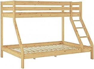 Erst Holz® Doppel Etagenbett 140x200 Und 90x200 Erwachsenen Stockbett  Kiefer Massivholz Natur