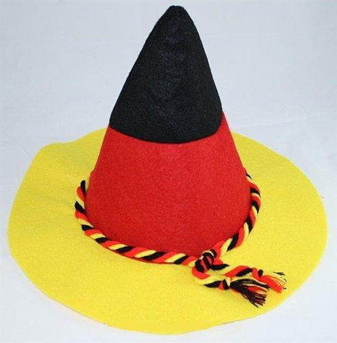 Fan Seppelhut in Deutschland Farben mit schwarz rot gelber Kordel Fußball Fanartikel WM Sepplhut