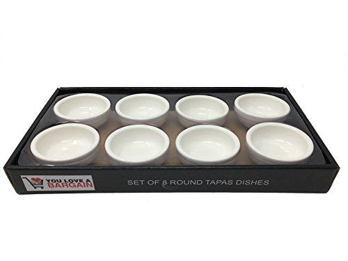 Tapas-Teller/Schalen aus feinem Porzellan, Set mit 8 Stück, Durchmesser 7,2cm