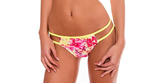 RELLECIGA Donna Slip Swimwear Bottom Bikini Criss Cross Stripes Floral