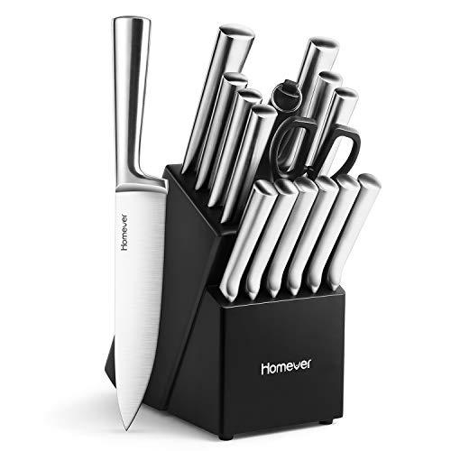 Homever Coltelli Cucina Set, Acciaio Inossidabile 16 Pezzi Set Coltelli Cucina, Professionali Set Coltelli da Cucina con Ceppo Coltelli in Legno