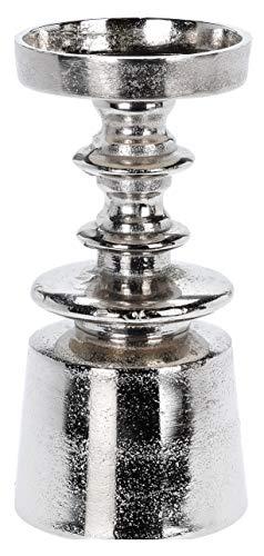 Home & Styling Metall Kerzenleuchter Kerzenständer für Stumpen Kerze/Altarkerze, Höhe 18cm in Farbe Silber im Antiklook