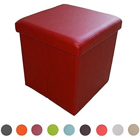stylehome® Asiento banco Puff con caja soporte Banco taburete plegable Soporta piel sintética Selección de Colores Tamaño Selección 1638–20de color rojo oscuro