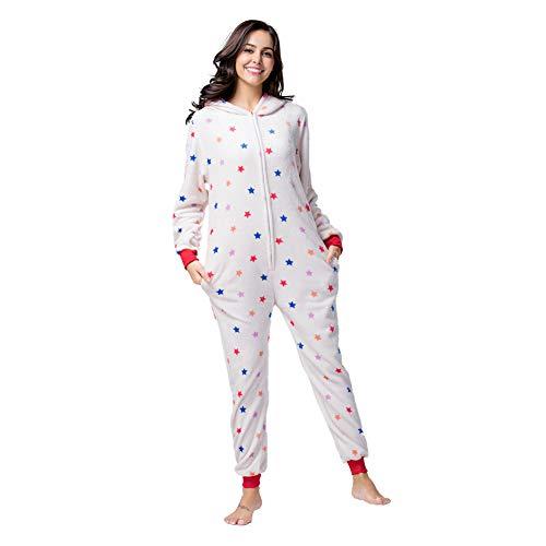 Damen Herren Jumpsuit Overall Fasching Tier Einhorn Kostüm Fasching Anime Cosplay Halloween Karneval Kostüm Schlafanzug Pyjama Erwachsene,L