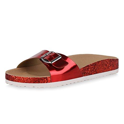 ndalen Lack Pantoletten Glitzer Hausschuhe Sommer Schuhe 162514 Rot Lack 38 (Rote Glitzer Schuhe)