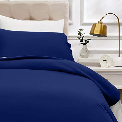 AmazonBasics - Juego de funda nórdica de satén de algodón de 400 hilos - 135 x 200 cm/ 50 x 80 cm x 1, Azul marino