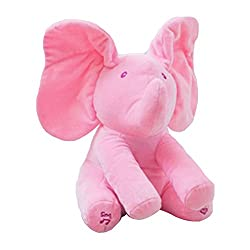 Aaa226 Baby Lovely Peek-a-boo Pal Animated Moving Ears Elephant Plush Toy With Music (Pink)