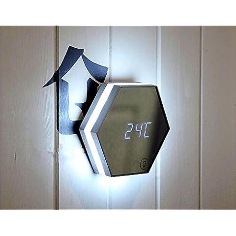 Multifunzione creativa 3 in 1 Sveglia digitale con specchio trucco e dimmerabile Night Light Touch, 3 gruppi di modalità di allarme, Tempo / orologio / Display temperatura, USB ricaricabile , silver