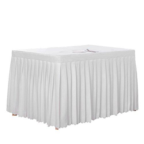 Anguang Pflegeleicht Tischdecke Mode Zuhause Hochzeit Dekoration Tischrock Konferenztisch Rock Weiß (160*60*75 cm)