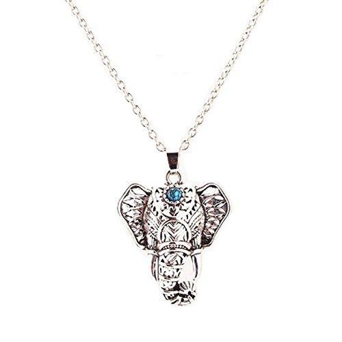 IzuBizu London - Colgante de elefante vintage Colgante de plata plateado