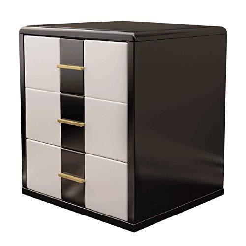 Mei xu comodino comodino - comodino da camera da letto comodino moderno semplice comodino da due colori in bianco e nero con tre cassetti