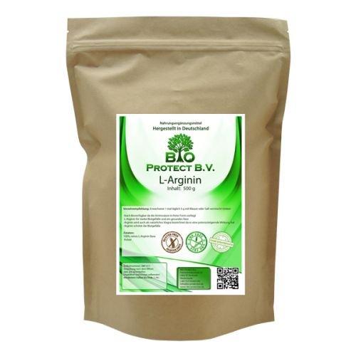 L- Arginin Base Pulver 500 Gramm – 100% ohne Zusatzstoffe – Bio Protect BV
