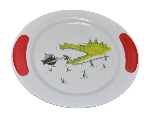 "Ornamin flacher Kinderteller Ø 25 cm ""Krokodil"" rot | stabiles Kinder-Geschirr, optimal für Kinderportionen | Melamin, BPA-frei, Anti-Rutsch-Teller, Baby-Geschirr, Ess-Lern-Teller, Kunststoffteller"