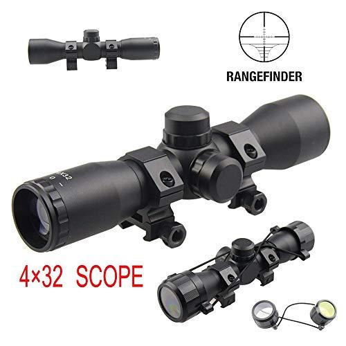 Huntiger 4x32 Zielfernrohr Kompakt .223 .308 Taktisch Jagd Gewehr Zielfernrohr mit Montage Rangefinder Fadenkreuz Optische Sichtung with Rings -
