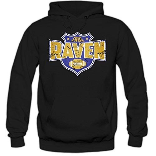 Shirt Happenz Raven #8 Hoodie |Herren | Super Bowl | Play Offs | Football Hoodies | USA | Kapuzenpullover, Farbe:Schwarz (Black F421);Größe:L Joe Flacco Jersey
