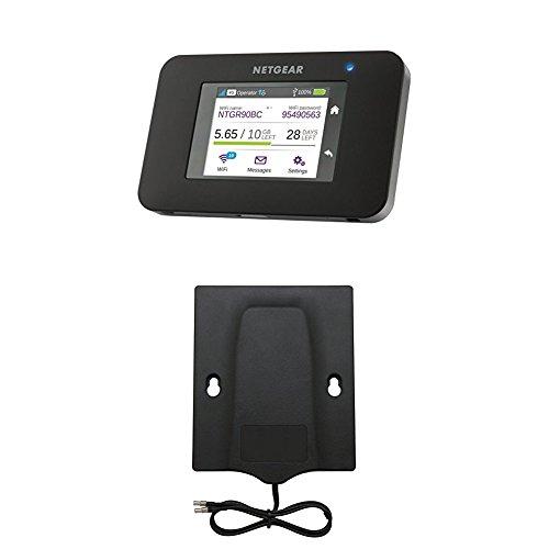 Netgear AC790-100EUS Aircard 790 Mobile Hotspot (4G LTE) Router + Netgear Mimo 6000450 Flachantenne (3G/4G, 700-906/1710-1990 /2110-2170/2500-2700 MHz, TS-9) Schwarz