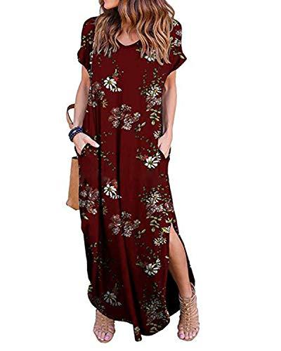 Kidsform Maxi Kleid Damen Großen Größen Sommerkleider Elegant Strandkleider Kurzarm V-Ausschnitt Split Lang Kleid