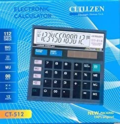 k.v traders Cltllzen Ct-512 Basic Black Calculator (12 Digit)