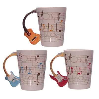 Acoustic Guitar Mug with Shaped Handle and Sheet Music Design