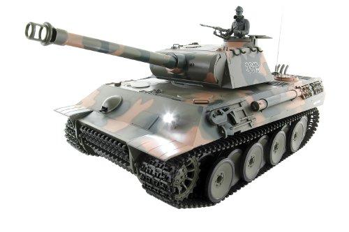 XciteRC 35508000 RC Panzer Modellpanzer Panther, RTR Sound and Smoke 1:16 mit Fernsteuerung, camouflage grün
