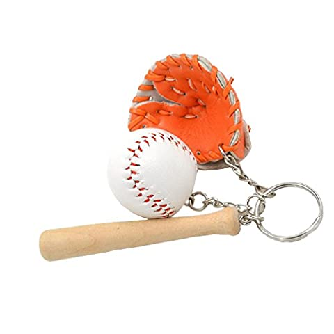 Mini-baseball Balle + Bat + Set Gant Clé Pendentif Porte-clés