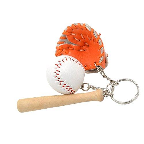 Mini-Baseball-Ball + Schläger + Handschuh-Set Anhänger Schlüsselring Geschenk - Orange