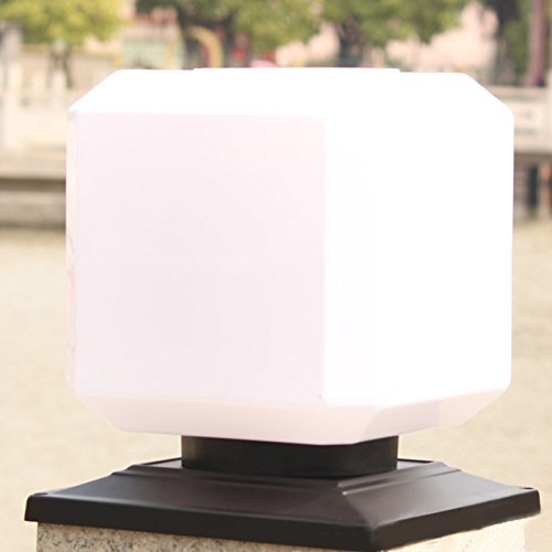 Zantec Quadratische Solar Power Lights, Outdoor Gartenzaun Post Light, wasserdichte Spalte Säule Laterne Wandleuchte (Moderne Rost 4 Licht)