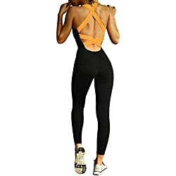 Minetom 1X Femme Legging de Sport Combinaison en polyester pour fitness/gym/jogging/yoga/course Orange EU M