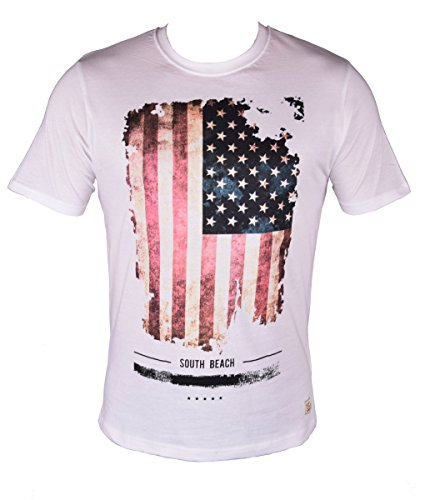 Trifft Amerika Auf (Herren T-Shirt in USA Flag Vintage Print - Regular Fit, Weiß, M)