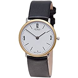 Stahl SWISS MADE Wrist Watch Model: ST61159 - Gold Plated - Large 33mm Case - Arabic and Bar White Dial