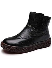 YaXuan Zapatos de Mujer, 2019 Otoño Invierno Retro Parte Inferior Suave Martin Botas Calientes de Cuero Hechos a Mano con Cabeza Redonda Zapatos de Mujer Botas de Viento Nacionales