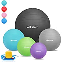 Exercise Ball (45-85cm), Extra Thick & Anti-Slip & Anti-Burst Swiss Ball (9 Colors), Heavy Duty Ball Chair Supports 2000lbs, Trideer High-Quality Birthing Ball with Quick Pump (Office & Home & Gym)