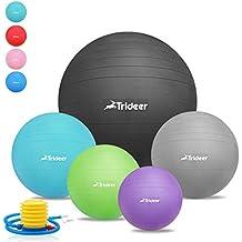 45 cm à 85 cm Ballon Suisse de gym avec Pompe, Trideer® 500KG Anti-Éclatement / Plusieurs options de couleurs