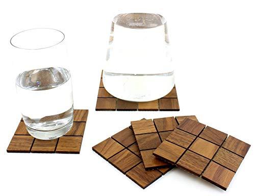 wodewa Holzuntersetzer Eckig für Gläser I 5-teiliges Glasuntersetzer Set Nussbaum Holz I Hochwertige Untersetzer Holz für Gläser Getränke Untersetzer