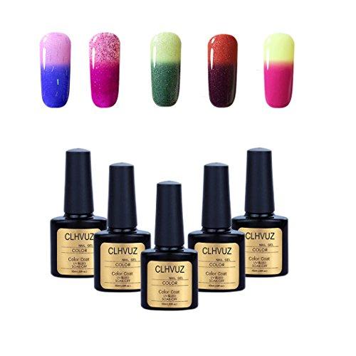 Clhvuz Nagellack-Set mit Gel-Nagellack der seine Farbe bei Temperaturschwankungen ändert, für UV-/LED-Maniküre, je 10ml, 5-teilig (Süßes Paar Ideen Für Halloween)