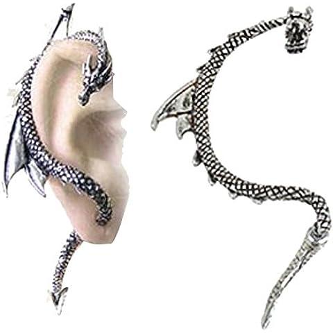 Dansuet Retro involucro gotico metallo mosca drago freddo abbaglia dell'orecchio del polsino dell'involucro della vite prigioniera, Dragon Fly Orecchino a brillantino per l'uomo