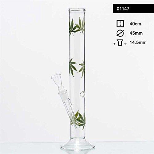 Multi-glas (Multi Leaf Glas Bong. Tabakpfeife 40cm hoch, 45mm Ø, 18,8er Schliff und Chillum)
