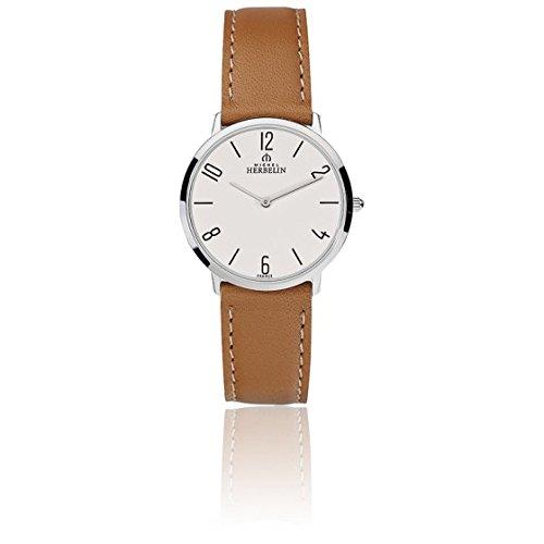 Michel Herbelin Damen-Armbanduhr 36mm Armband Leder Braun Batterie 17415/21GO