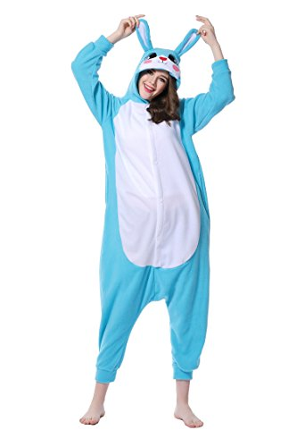 nder Pyjamas Cosplay Nachtwäsche Osterhase Tier Onesie Kostüme Schlafanzug Tieroutfit tierkostüme Jumpsuit (M, Blau Hase) (Herren Tierkostüme Uk)